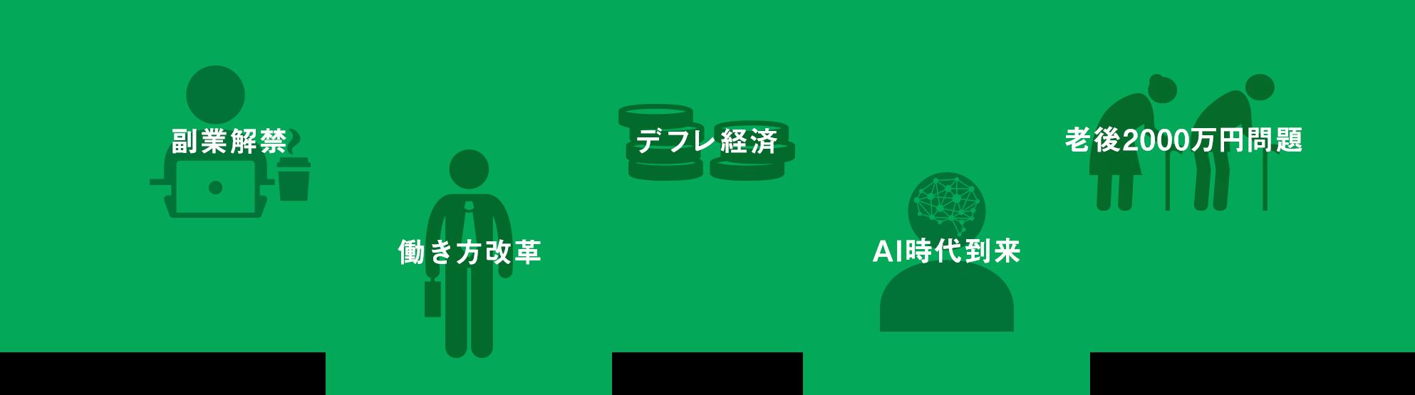 副業解禁 働き方改革 デフレ経済 AI時代到来 老後2000万円問題
